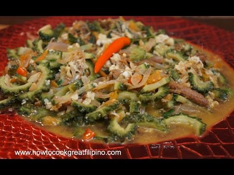Filipino Food - Ampalaya at Dangit Recipe - Dried rabbit fish Pinoy cooking - Bitter melon
