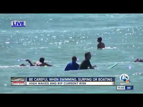 South Florida surfers hit the water to surf waves from Hurricane Florence