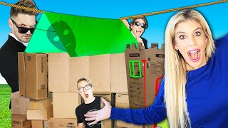 DIY Survival Fort Challenge in Our Empty New House! (Matt and Rebecca Vs. Agents Surprising Results)