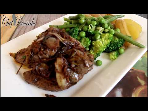 Chef Ricardo Red wine steak served with green vegetables and new potatoes
