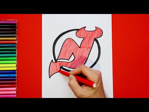 How to draw and color the New Jersey Devils Logo - NHL Team Series