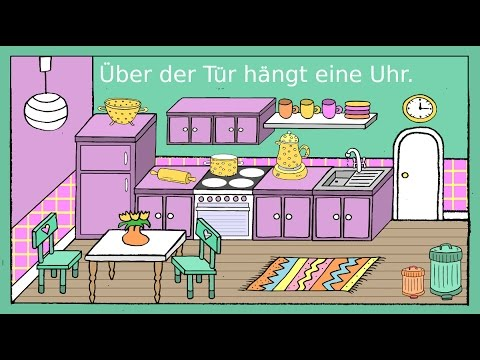 deutsch lernen in der k che dativ pr positionen german for children beginners youtube. Black Bedroom Furniture Sets. Home Design Ideas