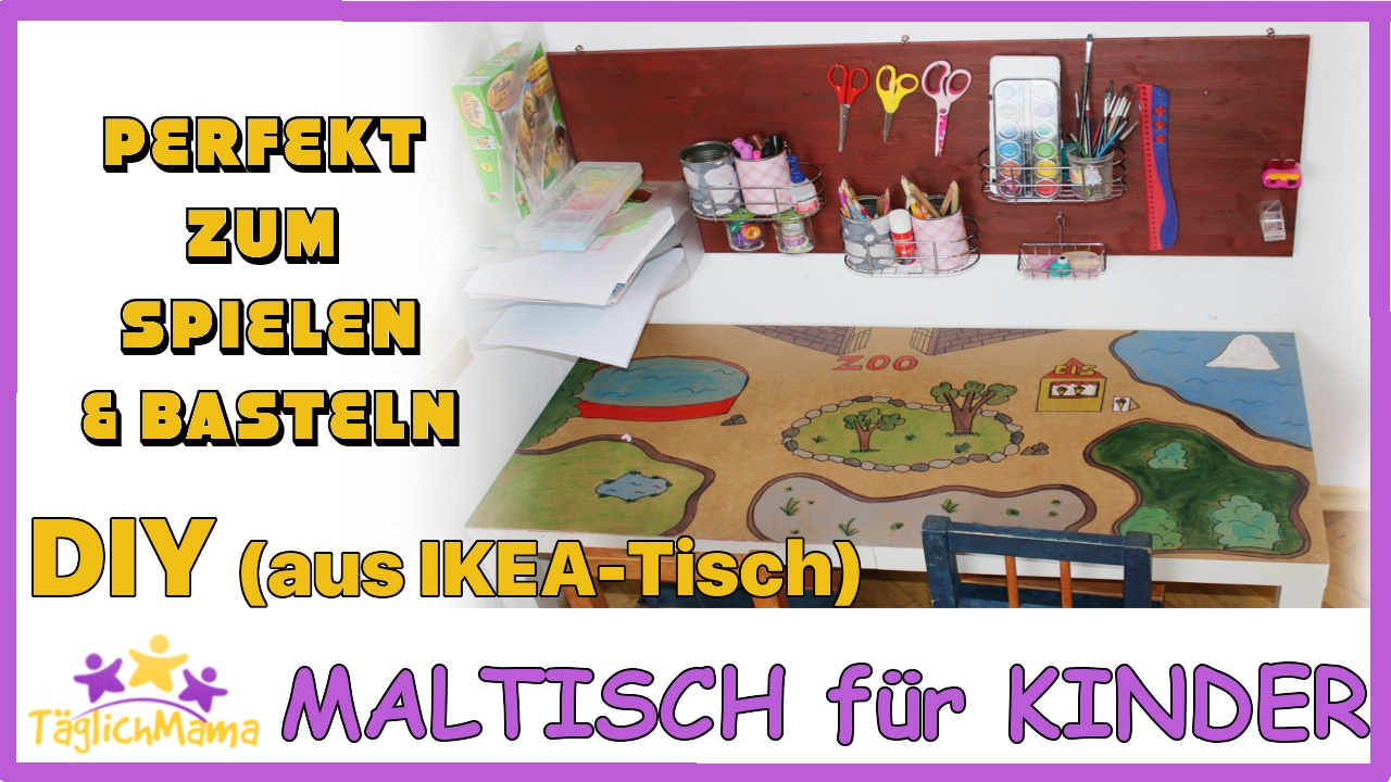 diy spiel maltisch aus altem ikea tisch g nstig upcycling ikea t glich mama viyoutube. Black Bedroom Furniture Sets. Home Design Ideas