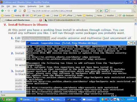 colinux and ubuntu setup screencast