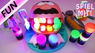 PLAY DOH DR WACKELZAHN MIT LEUCHTENDEN NEON- ZÄHNEN Deutsch - Playmobil Zahnarzt hilft uns