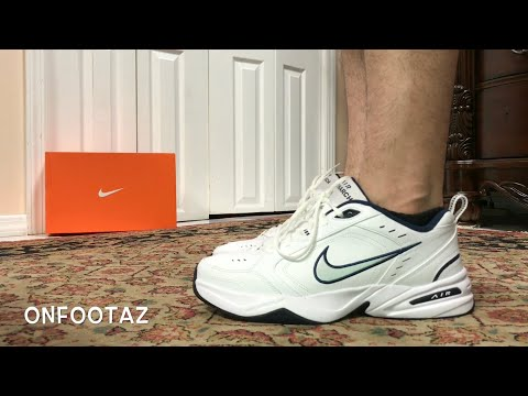 Nike Air Monarch White Metallic Silver On Foot YouTube