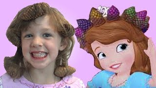 Princess Sofia the First Bedtime Routine kids dress up sisters pretend play toys