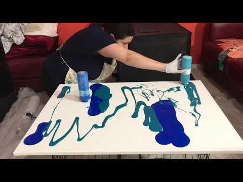 Large acrylic pour fluid art acrylic painting technique timelapse