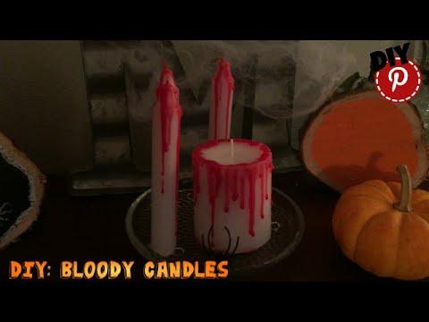 Diy Halloween Decor Bloody Candles Youtube