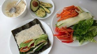 Raw Vegan Sushi With Cauliflower Rice On Nori