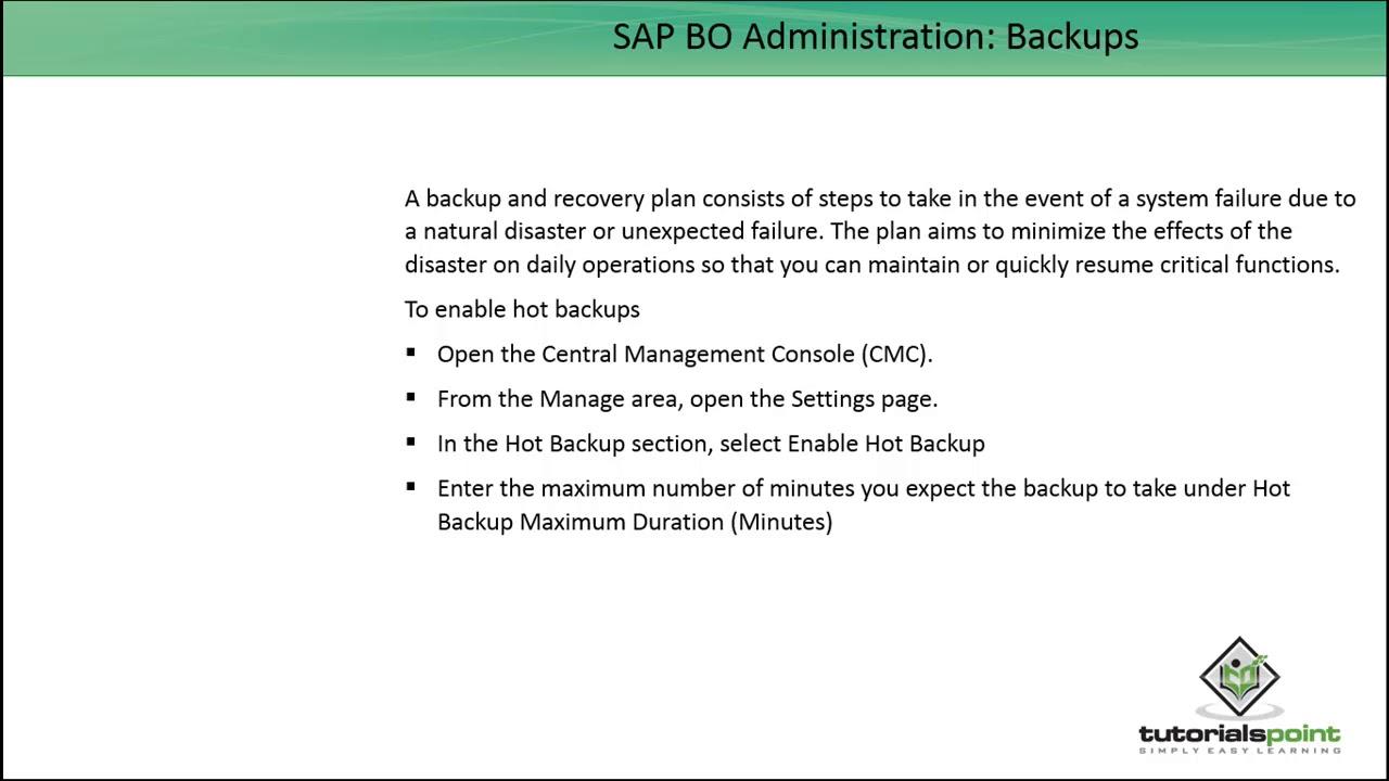 SAP BO Administration - Backups - YouTube