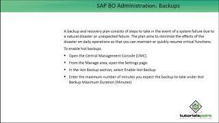 SAP BO Administration - Backups