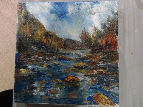Palette knife painting in oil -stream with rocks