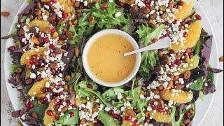 Салат к праздничному столу🥬🍓С орешками и клубникой😋Яркий, легкий и очень вкусный!