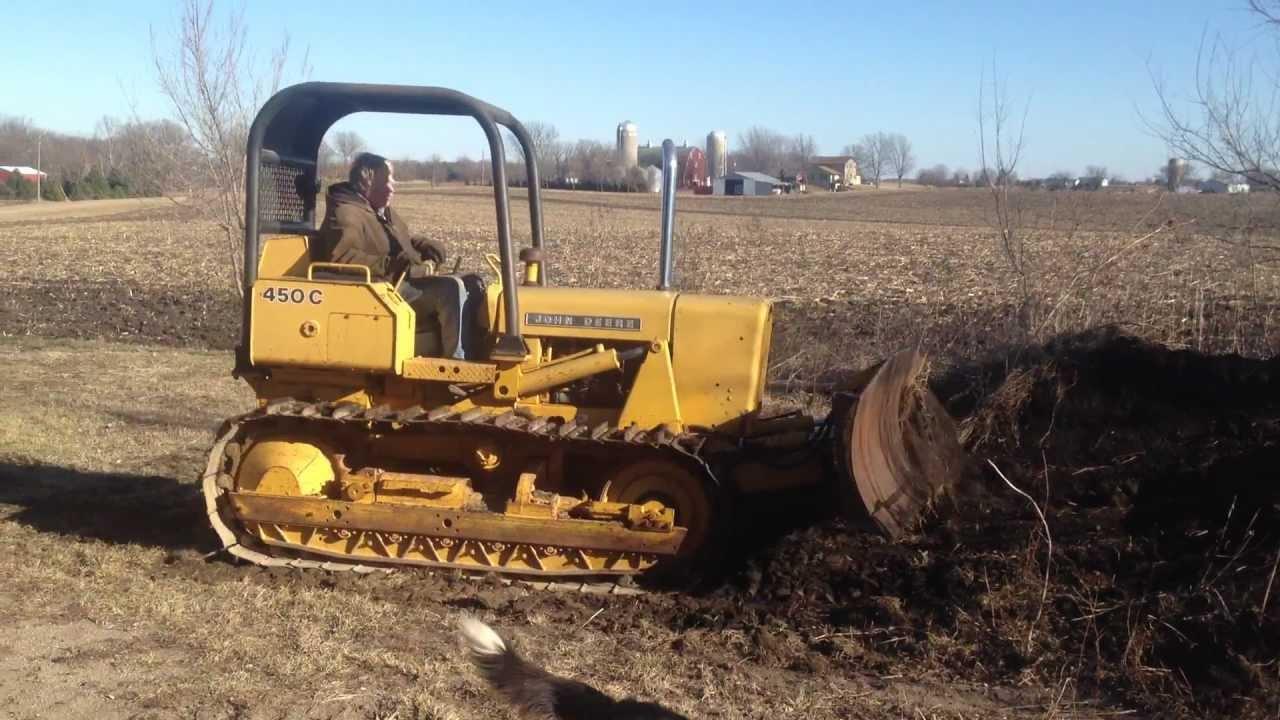 john deere 450 c bulldozer crawler pushing pile of dirt 5200 hours rh youtube com John Deere 450B Dozer john deere 450 dozer manual