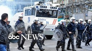 Brussels Riot Police Clash With Right-Wing Protestors