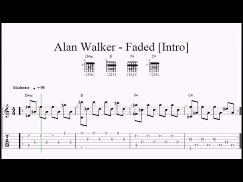 Guitar guitar tablature notes : ♫ Alan Walker - Faded ♫ Easy Guitar Lesson ♫ ORIGINAL NOTES ...