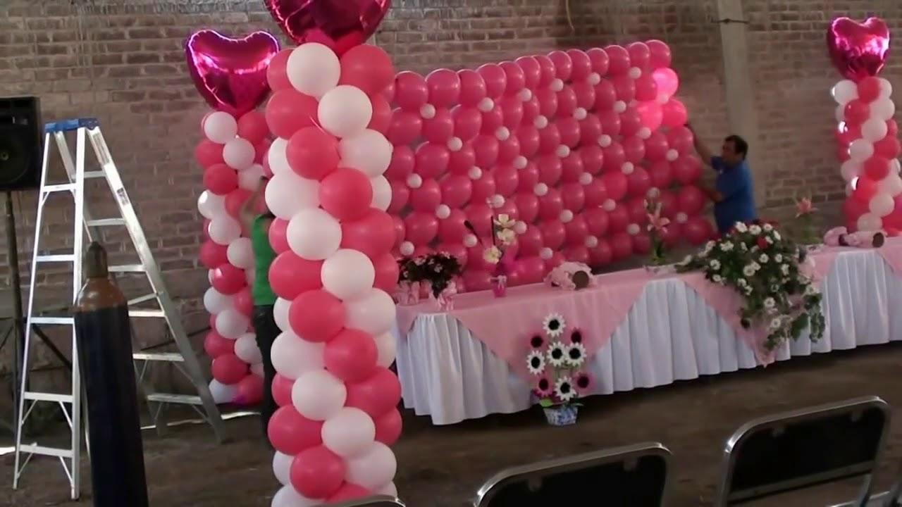 Muro con globos para 15 a os chasty youtube for Decoracion de globos para 15 anos
