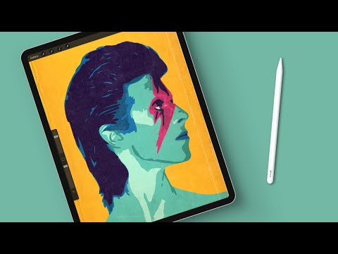 How To Draw A Minimal Vintage David Bowie Portrait In Procreate