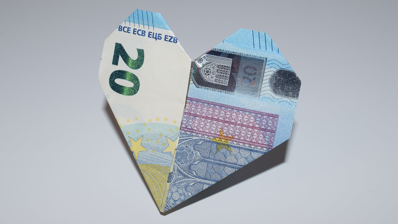 Dollar Origami: Heart | 1 Dollar | Easy tutorials and how to's for ... | 720x1280
