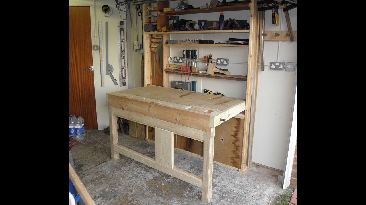 Folding work bench with storage - YouTube