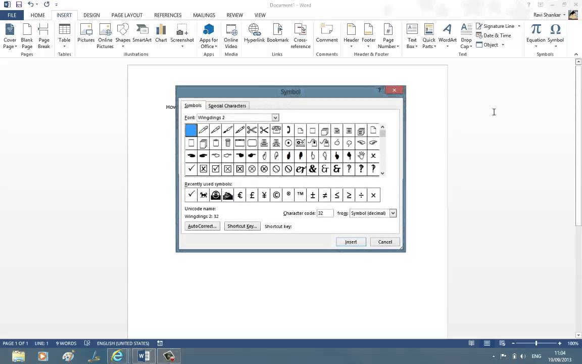 How to insert rupee symbol in Word 2013  YouTube