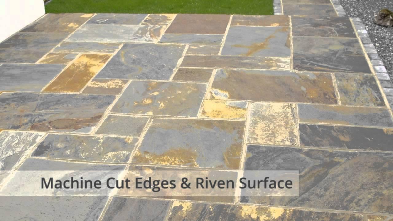 nustone rustic copper slate paving slabs garden patio stone flags gold multicolour