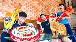 Nerf War : Cat&#39s Birthday Cake Seal X &amp MARSOC Nerf Guns Robber Team stratagems 36