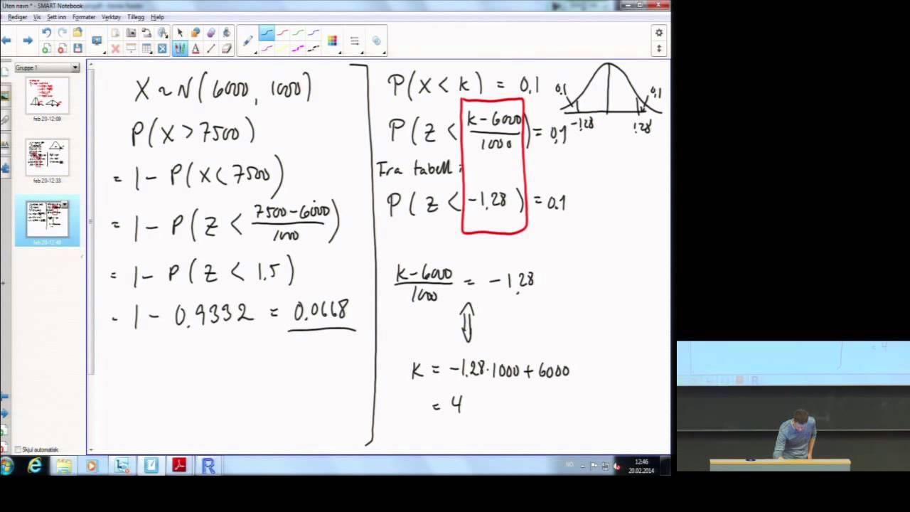 F7.3_Standard Normal - Kvantiler og Sannsynlighet Eksempler -  Statistikk grunnkurs (NMBU)