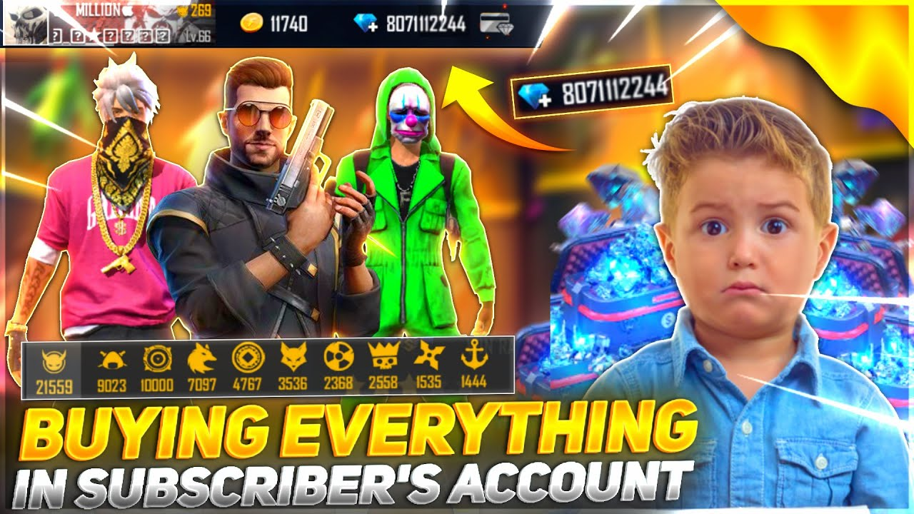 Buying Everything In Subscriber Account💎| $5,000 Diamond Top Up In Subscriber id - Garena free fire
