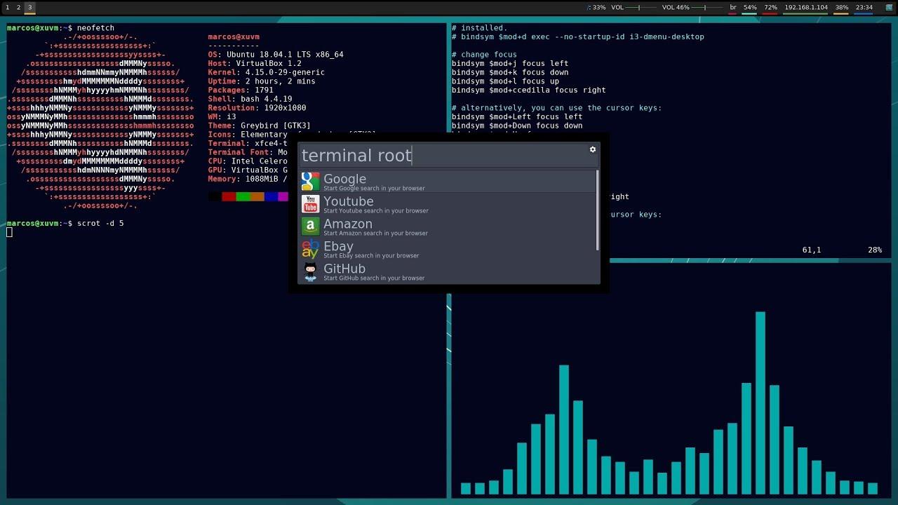 Ubuntu + i3-gaps + Albert + Cava + Polybar