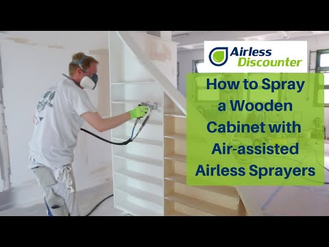 Spraying Lacquer On A Wooden Cabinet With An Air-assisted Airless Sprayer - AirCoat, Air-assisted