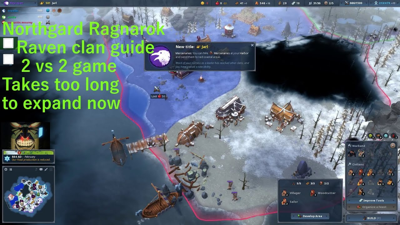 Northgard ragnarok raven clan guide 2vs2 + state of the game