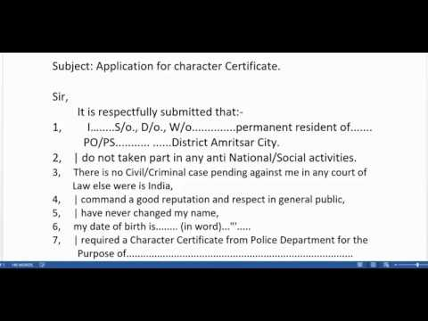 Application For Character Certificate