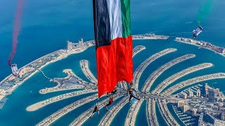 World's Largest flag flown while in Freefall • #UAE_National_Day