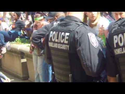 DOJ Home Protestors take control of Dept of Justice Steps from DHS police 5-20-2013