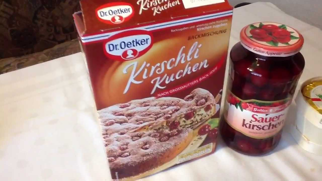 kirschli kuchen von dr oetker backmischung youtube. Black Bedroom Furniture Sets. Home Design Ideas