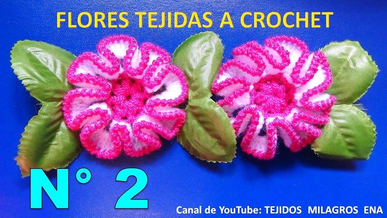 Flor tejida a crochet paso a paso para adorno de ponchos, gorros y ...