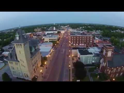 Aerial Shots Of Downtown Richmond, Kentucky At Dusk From 200 Feet