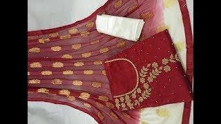 2018 Top Hand Work Designer Silk Dress Material || Top chanderi silk hand work dress material