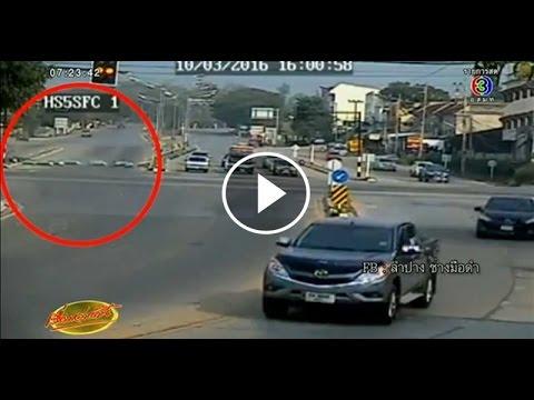 เรื่องเล่าเช้านี้ ระทึก วงจรปิดจับภาพรถบรรทุกแก๊สพลิกคว่ำ ถังกระจายเกลื่อนถนนลำปาง (11 มี.ค.59)