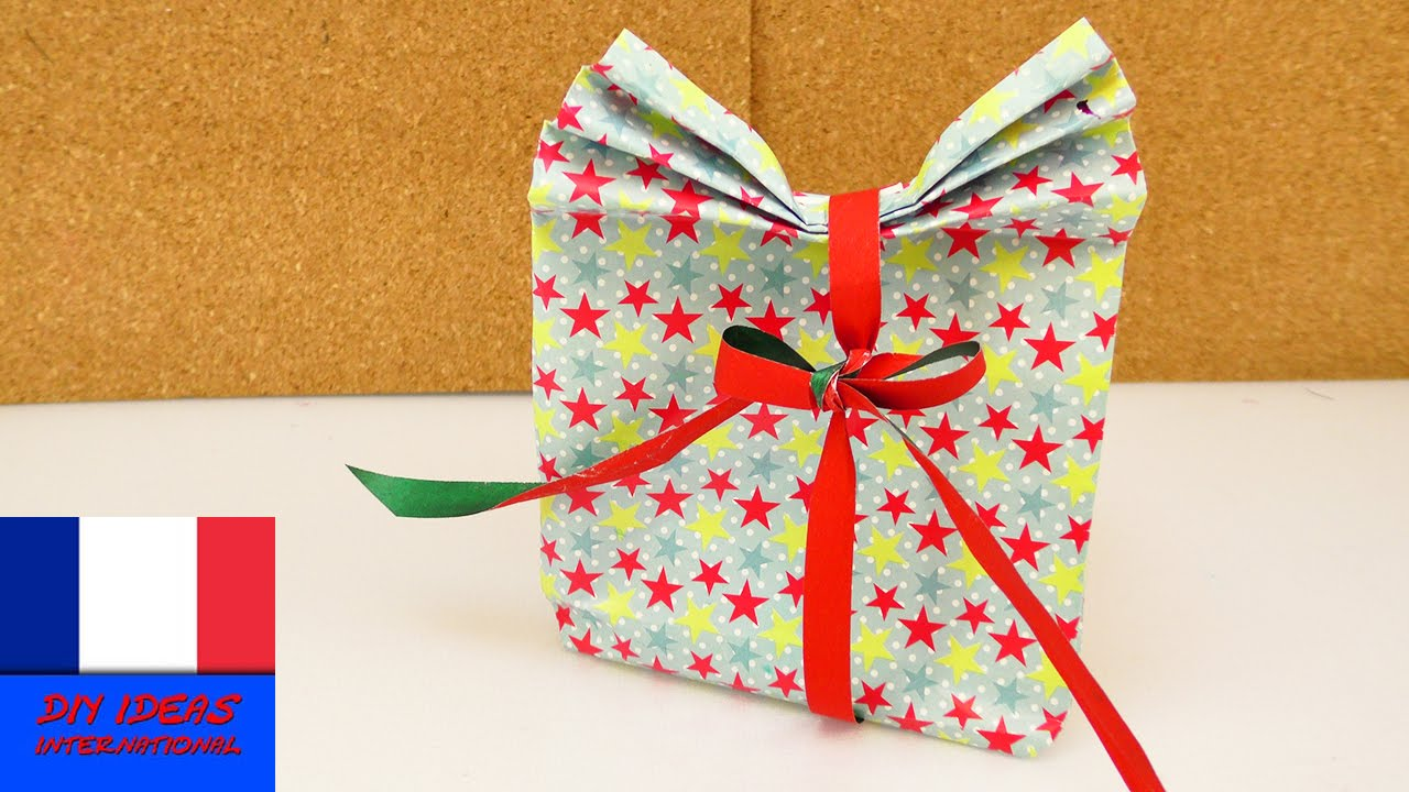 paquet cadeau faire soi m me emballage cadeau carton avec ventail youtube. Black Bedroom Furniture Sets. Home Design Ideas
