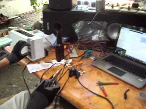 120V AC (1050 watt) toaster plus carbon rods = Carbon Arc Lamp!!