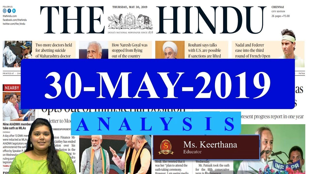 Download The Hindu News Analysis   30th May 2019   Daily Current Affairs -  UPSC Mains 2019 - Prelims 2020