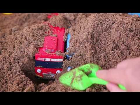 Тайо песок игра Маленький автобус   Tayo The Little Bus Sand Play Beep Beep!!❤TOYFAMILY PLAY TOYS