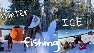 WINTER ICE FISHING English Bay Cold Lake Alberta faye neudorf