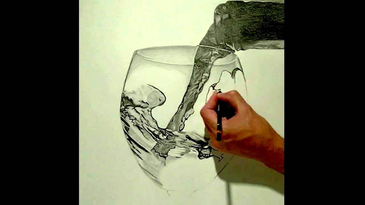Realistic drawing glass of wine youtube for How to draw on wine glasses