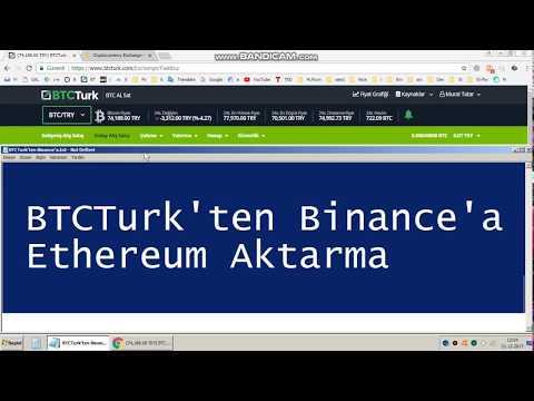 BTCTurk'ten Binance'a Ethereum Aktarma
