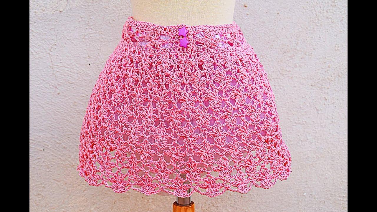b57020ad0 Falda de flores a crochet o ganchillo para niña muy facil y rapido #corchet  #ganchillo