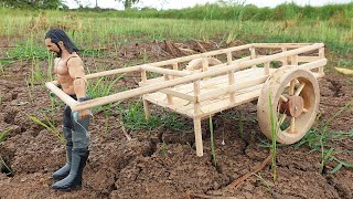 Making Wooden Cart To Collecting Grass for Wooden Cow - Creative Woodworking Idea